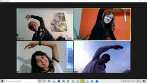 students stretch happy zoom meeting